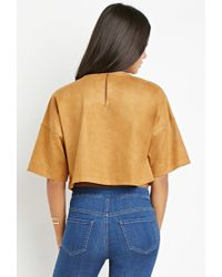 Forever 21 - Natural Contemporary Paneled Faux Suede Top - Lyst