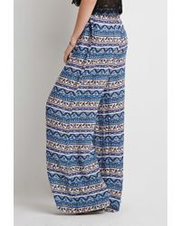 Forever 21 - Blue Abstract Striped Wide-leg Pants - Lyst