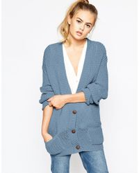 Daisy Street | Blue Slouchy Chunky Knit Cardigan | Lyst