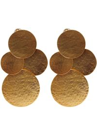 Herve Van Der Straeten | Metallic Goldplated Pailettes Drop Earrings | Lyst