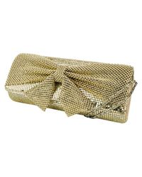 Jessica Mcclintock | Metallic Metal Embellished Clutch With Bow Accent | Lyst