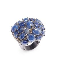 Bavna | Clustered Blue Sapphire Champagne Diamond Sterling Silver Ring | Lyst