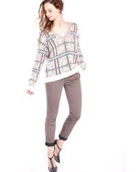 Liu Jo | Natural Slim Leg Bottom-up Trousers | Lyst