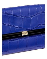 Diane von Furstenberg - Blue '440 Envelope' Croc Embossed Leather Envelope Clutch - Lyst