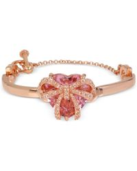 Betsey Johnson | Pink Cubic Zirconia Heart Stone Bangle Bracelet | Lyst