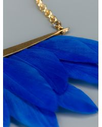 Katerina Psoma - Blue Feather Necklace - Lyst