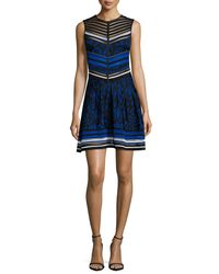 Roberto Cavalli - Blue Sleeveless Jacquard Fit-and-flare Dress - Lyst