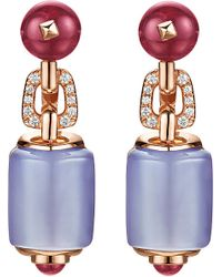 BVLGARI | Blue Mvsa 18ct Pink-gold Earrings With Chalcedony, Rubellite Beads, Pink Tourmaline Beads And Pavé Diamonds | Lyst