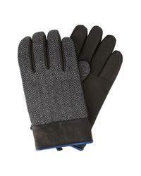 Original Penguin | Black Herringbone Gloves With Leather for Men | Lyst