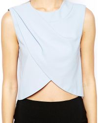 ASOS - Blue Pleat And Wrap Shell Top - Lyst