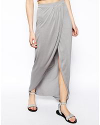 ASOS | Gray Wrap Maxi Skirt In Jersey | Lyst