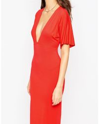 ASOS - Kimono Plunge Maxi Dress With Open Back - Red - Lyst