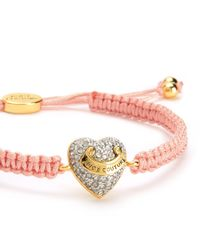 Juicy Couture | Pink Pave Heart Friendship Bracelet | Lyst