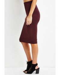 Forever 21 - Red Striped Pencil Skirt - Lyst