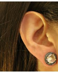 Adornia | Metallic Clear Quartz And Champagne Diamond Echo Stud Earrings | Lyst