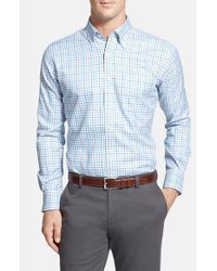 Peter Millar | Blue 'nano-luxe Tattersall' Regular Fit Sport Shirt for Men | Lyst