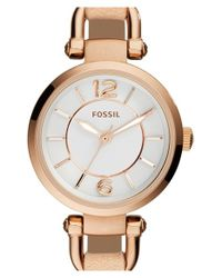 Fossil - White 'georgia' Round Leather Strap Watch - Lyst