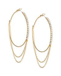 Guess | Metallic Goldtone Crystal and Chain Hoop Earrings | Lyst