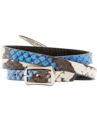 McQ | Black And Blue Snakeskin Swallow Charm Bracelet | Lyst