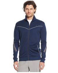 Calvin Klein | Blue Performance Mock-neck Full-zip Jacket for Men | Lyst