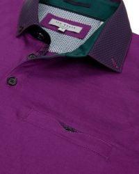 Ted Baker | Pink Joejoe Grosgrain Spot Collar Polo Shirt for Men | Lyst