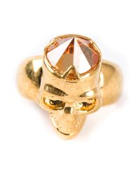 Alexander McQueen - Metallic Skull Diamond Ring - Lyst