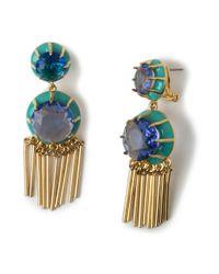 Lele Sadoughi   Crystal Fringe Earrings, Atlantic Blue   Lyst