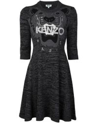 KENZO - Gray 'tiger' Sweater Dress - Lyst