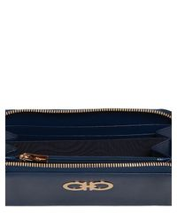 Ferragamo - Blue Gancini Saffiano Leather Wallet - Lyst