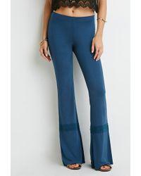 Forever 21 | Blue Crochet-trimmed Wide-leg Pants | Lyst