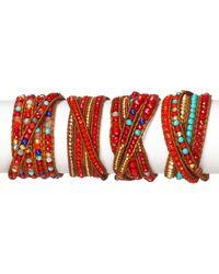 Chan Luu | Red Coral Mix Five Wrap Bracelet | Lyst