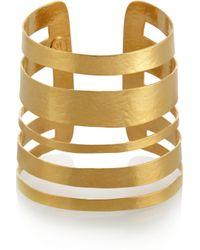 Herve Van Der Straeten | Metallic Hammered Goldplated Cuff | Lyst