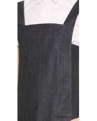 Victoria Beckham - Blue Trapeze Pinafore Dress - Japan Crosshatch - Lyst