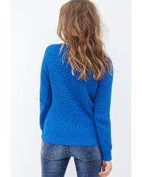 Forever 21 - Blue Crew Neck Sweater - Lyst