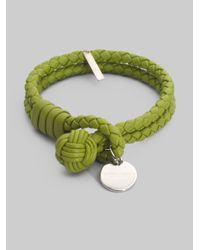 Bottega Veneta | Green Intrecciato Leather Double-row Wrap Bracelet | Lyst