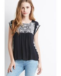 Forever 21 | Black Embroidered Peasant Top You've Been Added To The Waitlist | Lyst