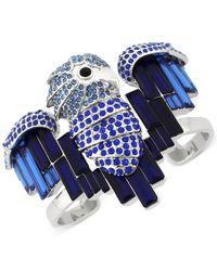 Vince Camuto - Silver-tone Blue Crystal Bird Cuff Bracelet - Lyst