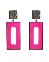 Adornia | Pink Chalcedony And Champagne Diamond Pollock Earrings | Lyst