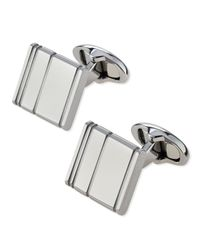 Dunhill - Metallic Engraved Lines Cuff Links for Men - Lyst