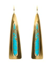 Irene Neuwirth | Blue 18kt Gold Turquoise Triangle Drop Earrings | Lyst