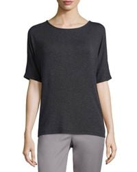 Vince | Black Luxe Ribbed Crewneck Tee | Lyst