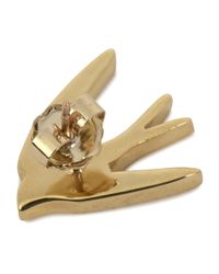 McQ | Metallic Gold Tone Swallow Earrings | Lyst