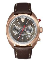 Scuderia Ferrari - Brown 'formula Sportiva' Chronograph Leather Strap Watch for Men - Lyst