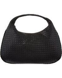 Bottega Veneta | Black Intrecciato Leather Medium Hobo Bag | Lyst