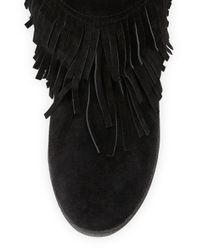 Tory Burch - Black Collins Shearling-Lined Fringe Bootie - Lyst