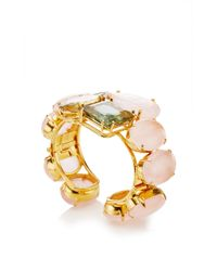Bounkit | Multicolor Rose And Lemon Quartz And Green Amethyst Cuff | Lyst