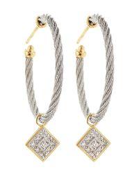 Alor   Metallic Diamond-drop Cable-hoop Earrings   Lyst
