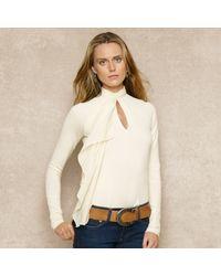 Ralph Lauren Blue Label | White Ruffled Silk Cottonblend Top | Lyst