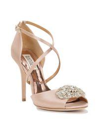 Badgley Mischka | Pink Sari Strappy Satin Evening Shoe | Lyst