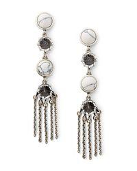 Rebecca Minkoff | White Dual Stone Fringe Drop Earring | Lyst